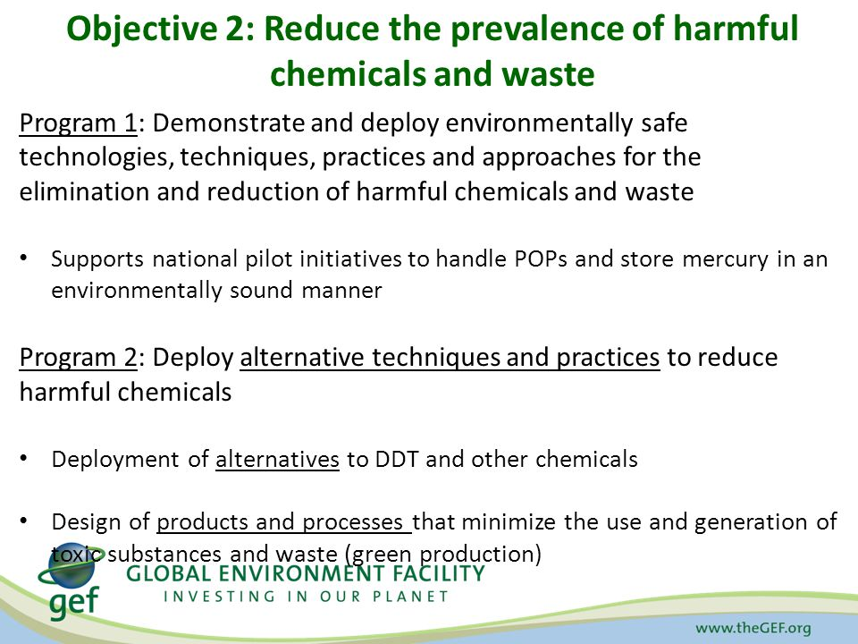 Objective 2: Reduce the prevalence of harmful chemicals and waste