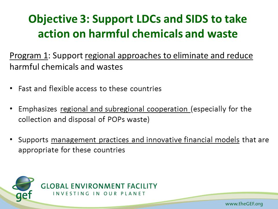 Objective 3: Support LDCs and SIDS to take action on harmful chemicals and waste