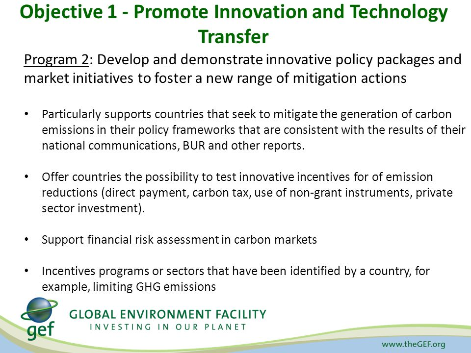 Objective 1 - Promote Innovation and Technology Transfer