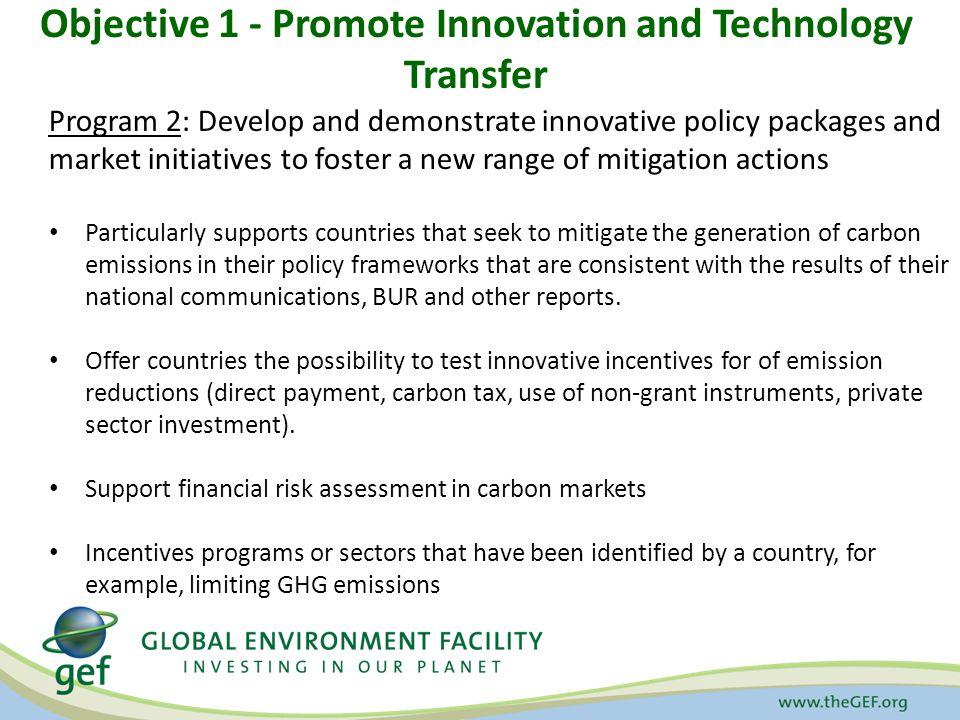 Objective 1 - Promote Innovation and Technology Transfer