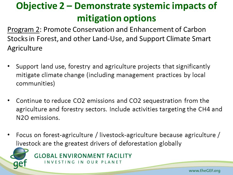 Objective 2 – Demonstrate systemic impacts of mitigation options