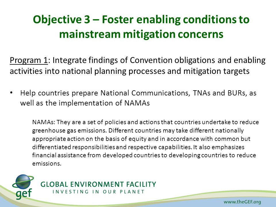 Objective 3 – Foster enabling conditions to mainstream mitigation concerns