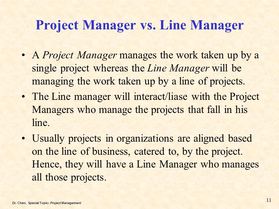 Project Manager vs. Line Manager