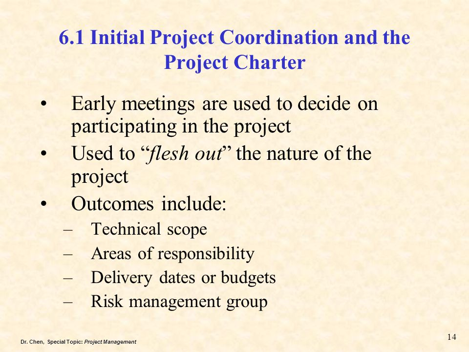 6.1 Initial Project Coordination and the Project Charter