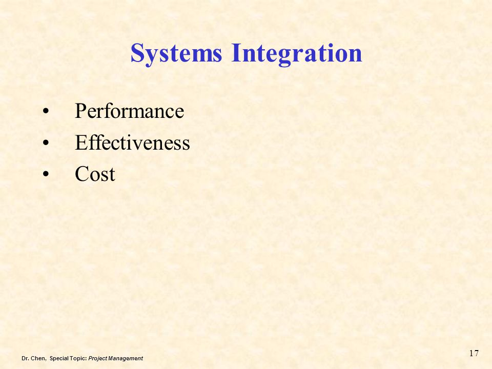Systems Integration Performance Effectiveness Cost