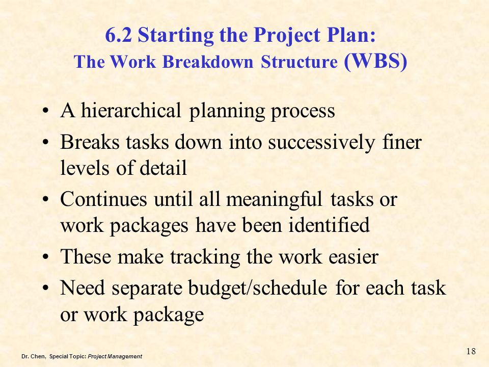 6.2 Starting the Project Plan: The Work Breakdown Structure (WBS)