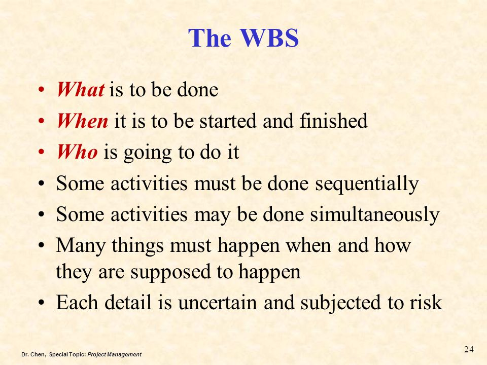 The WBS What is to be done When it is to be started and finished