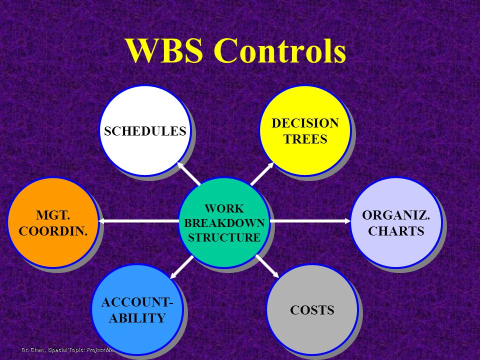 WBS Controls SCHEDULES DECISION TREES MGT. COORDIN. ORGANIZ. CHARTS