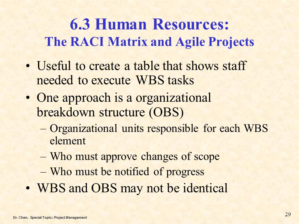 6.3 Human Resources: The RACI Matrix and Agile Projects
