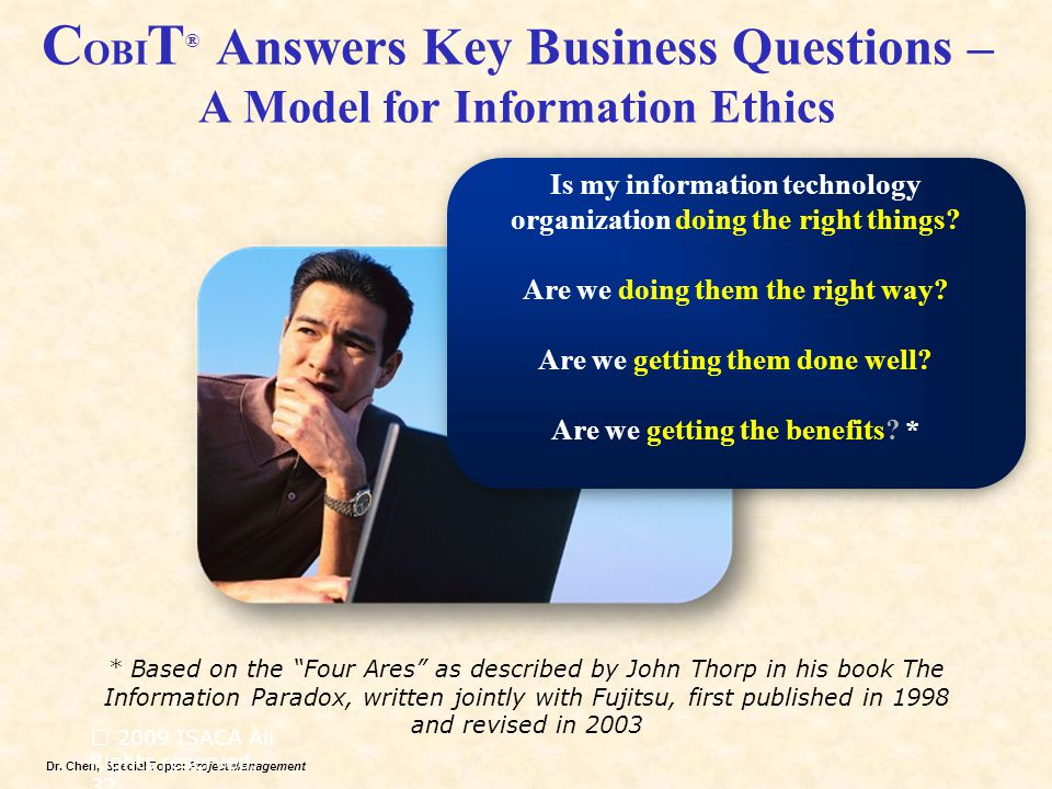COBIT® Answers Key Business Questions – A Model for Information Ethics