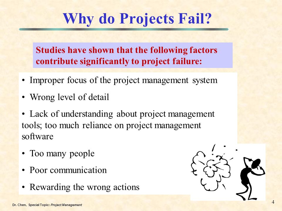 Why do Projects Fail Studies have shown that the following factors contribute significantly to project failure:
