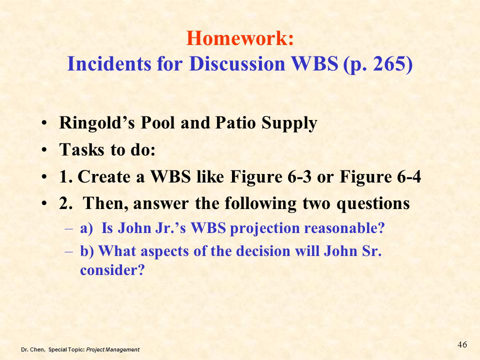 Homework: Incidents for Discussion WBS (p. 265)