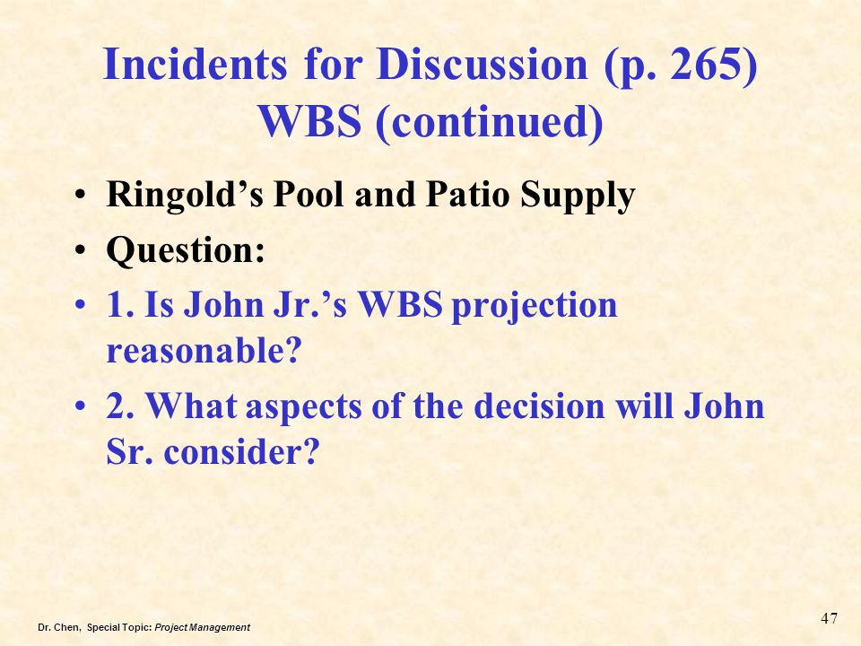 Incidents for Discussion (p. 265) WBS (continued)