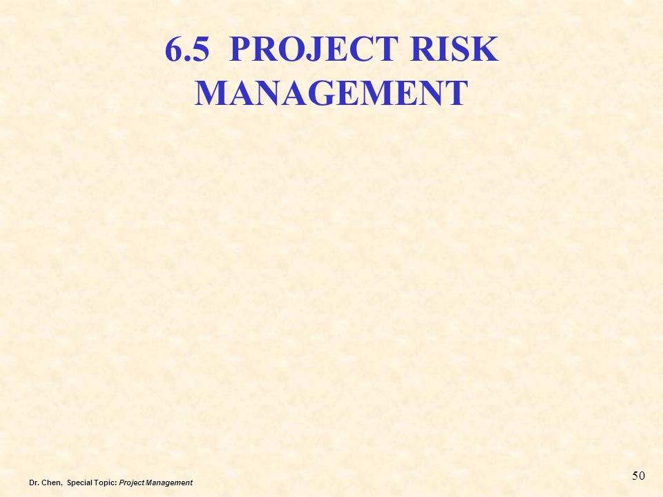 6.5 PROJECT RISK MANAGEMENT