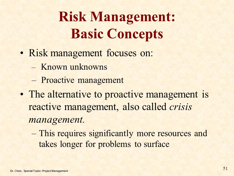Risk Management: Basic Concepts