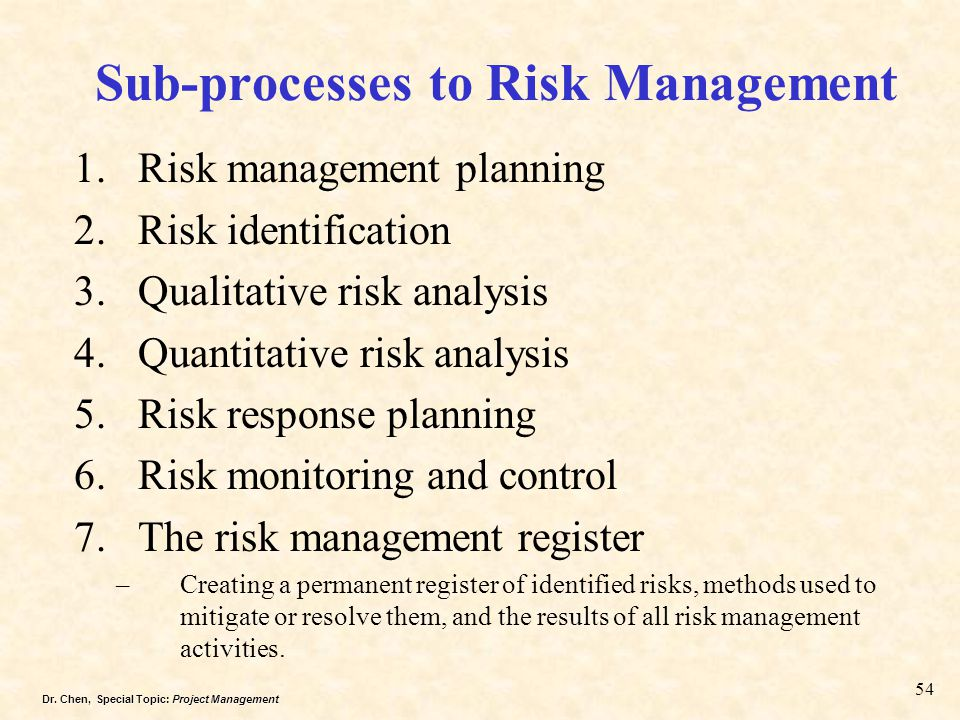 Sub-processes to Risk Management