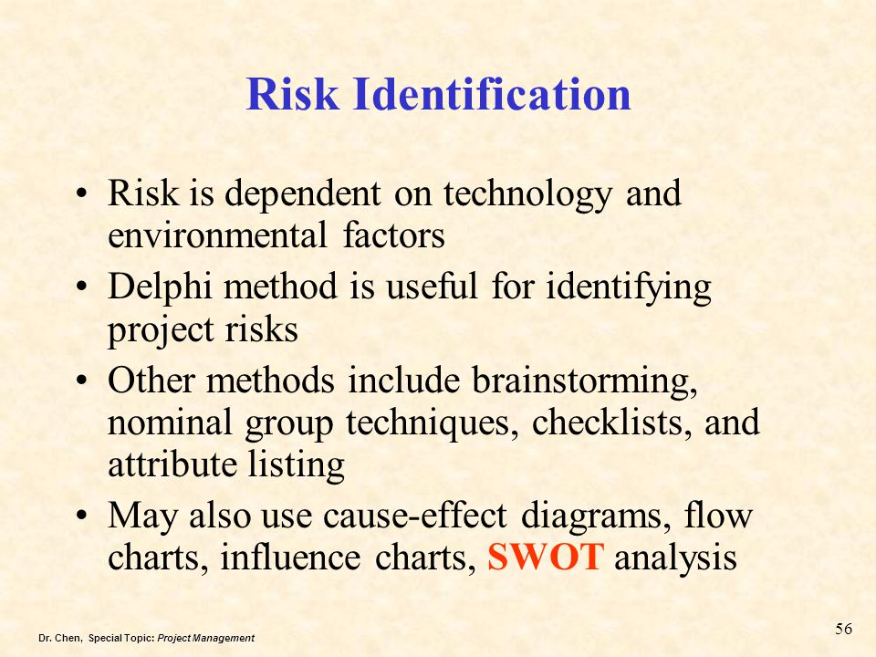 Risk Identification Risk is dependent on technology and environmental factors. Delphi method is useful for identifying project risks.