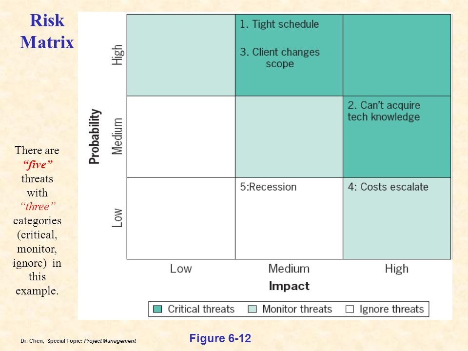 Risk Matrix There are five threats with three categories (critical, monitor, ignore) in this example.