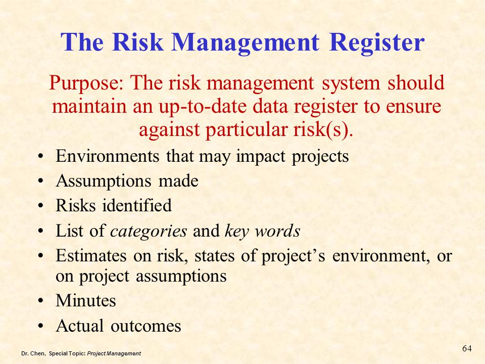 The Risk Management Register