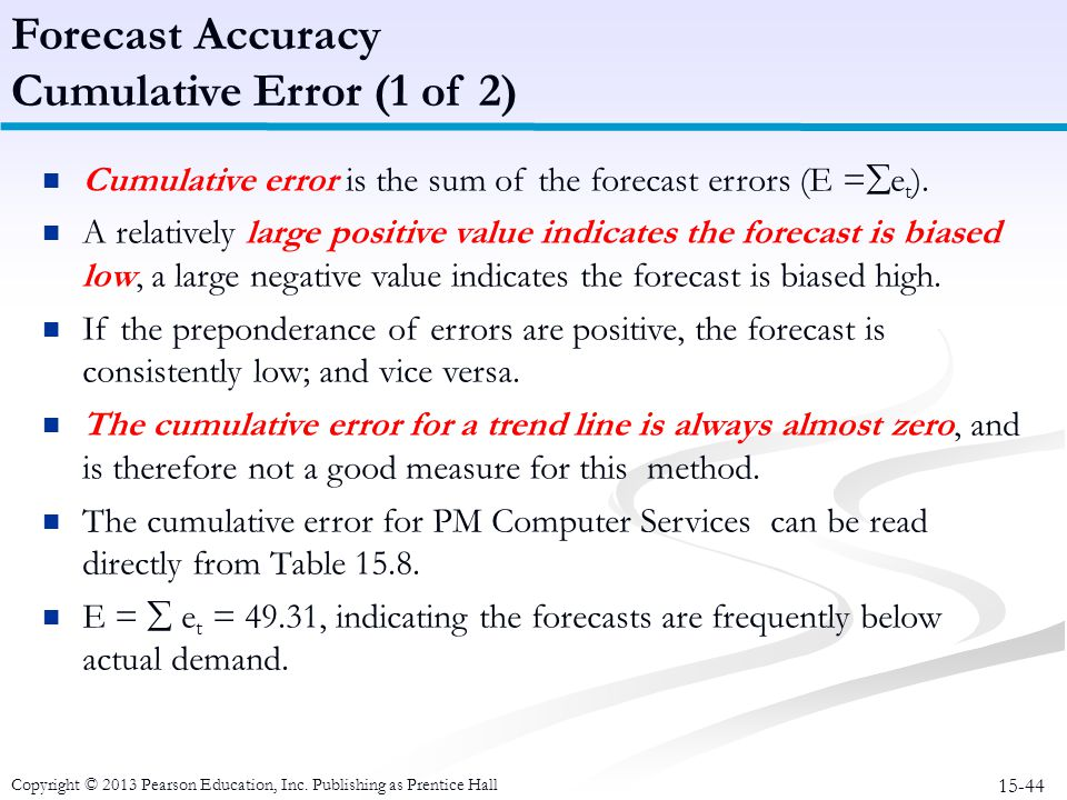 Forecast Accuracy Cumulative Error (1 of 2)