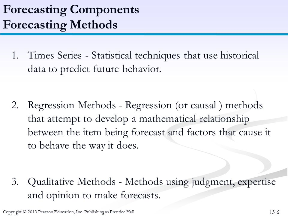 Forecasting Components Forecasting Methods
