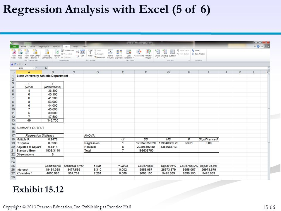 Regression Analysis with Excel (5 of 6)