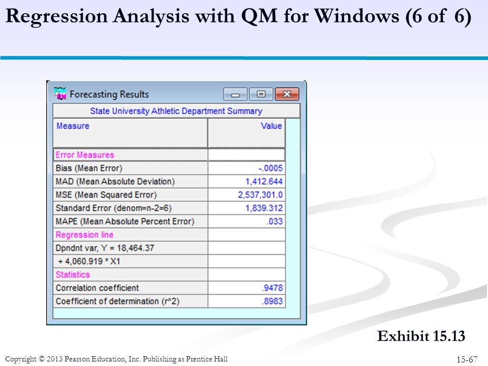 Regression Analysis with QM for Windows (6 of 6)