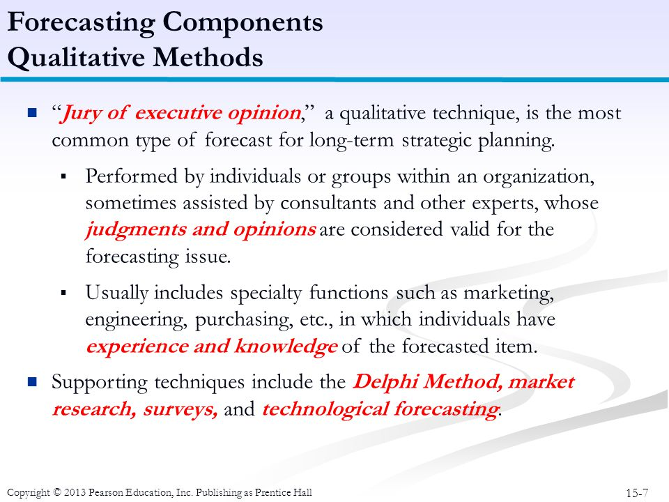 Forecasting Components Qualitative Methods