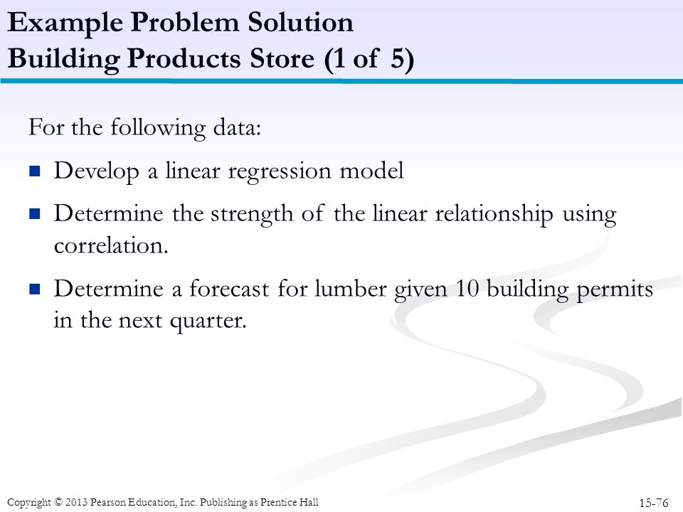 Example Problem Solution Building Products Store (1 of 5)