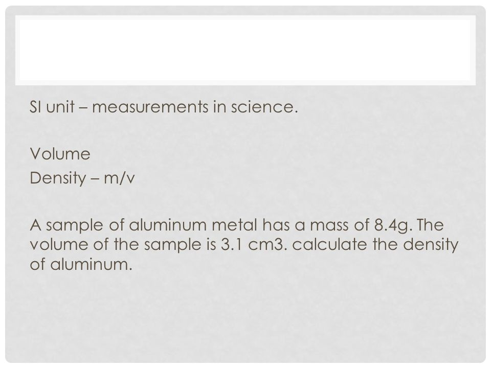 SI unit – measurements in science