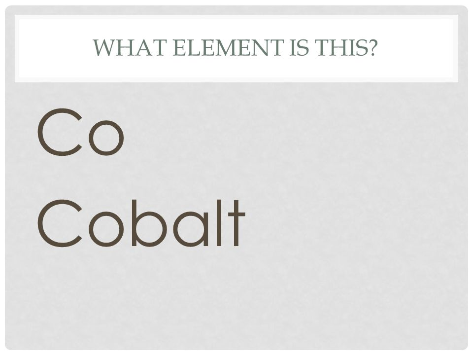 What element is this Co Cobalt