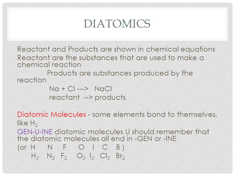 Diatomics Reactant and Products are shown in chemical equations