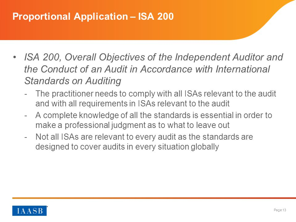 Proportional Application – ISA 200