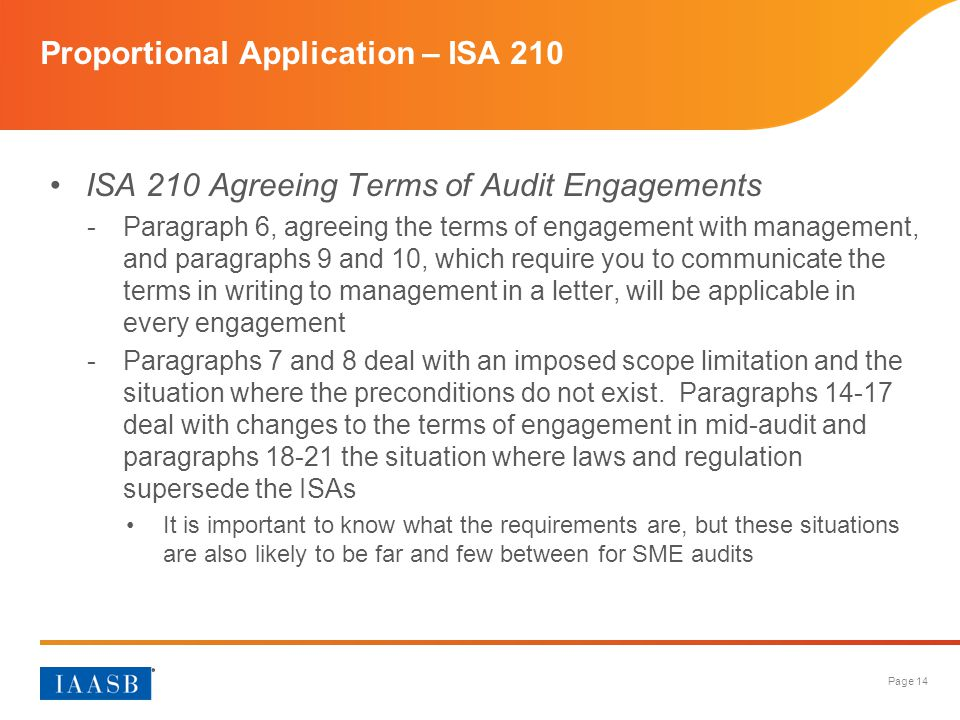 Proportional Application – ISA 210