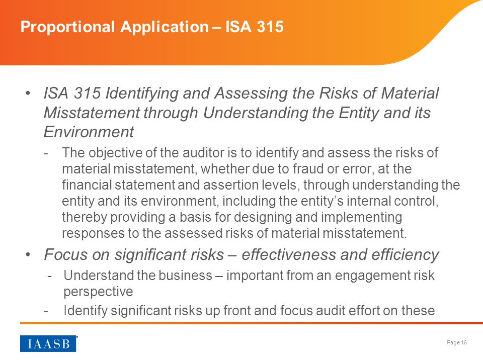 Proportional Application – ISA 315