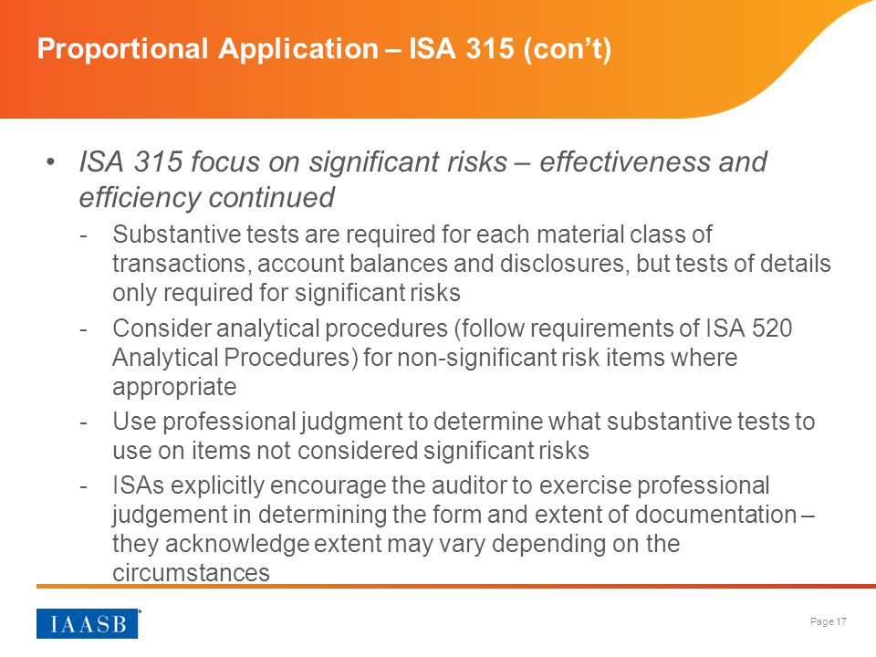 Proportional Application – ISA 315 (con't)
