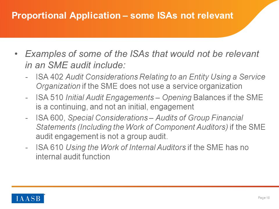 Proportional Application – some ISAs not relevant