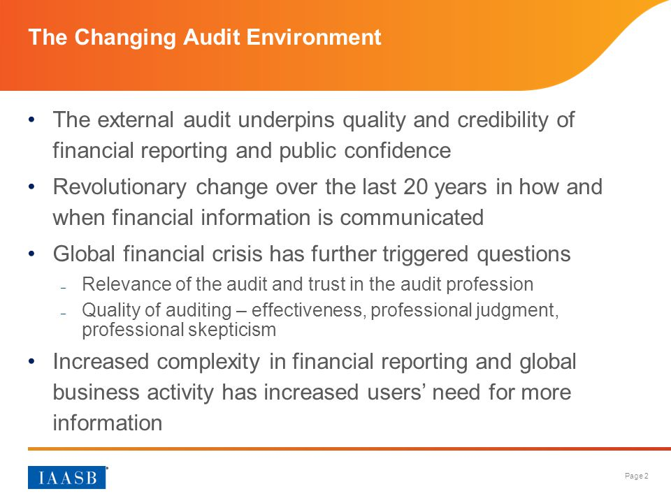 The Changing Audit Environment