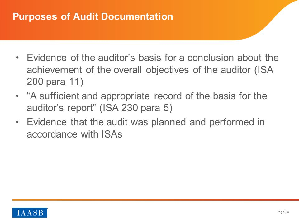 Purposes of Audit Documentation