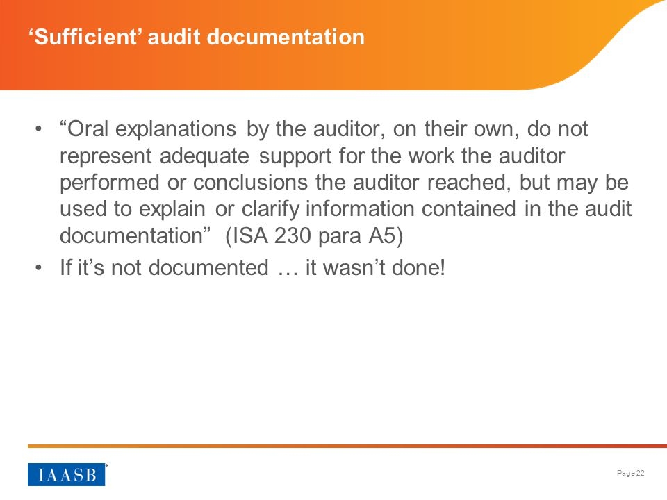 'Sufficient' audit documentation