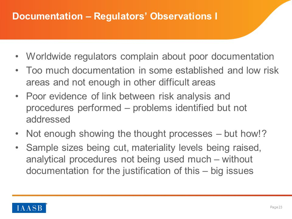 Documentation – Regulators' Observations I