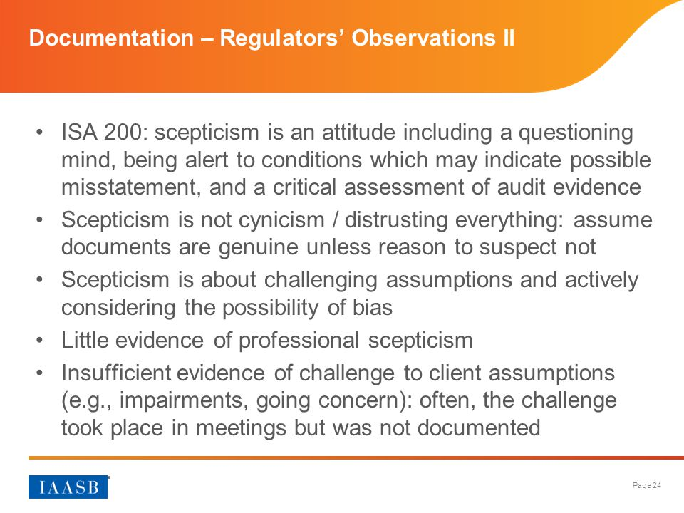 Documentation – Regulators' Observations II