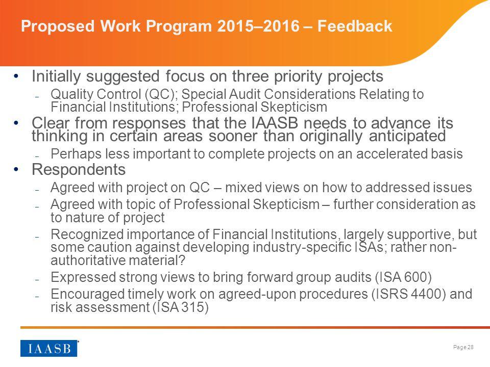 Proposed Work Program 2015–2016 – Feedback