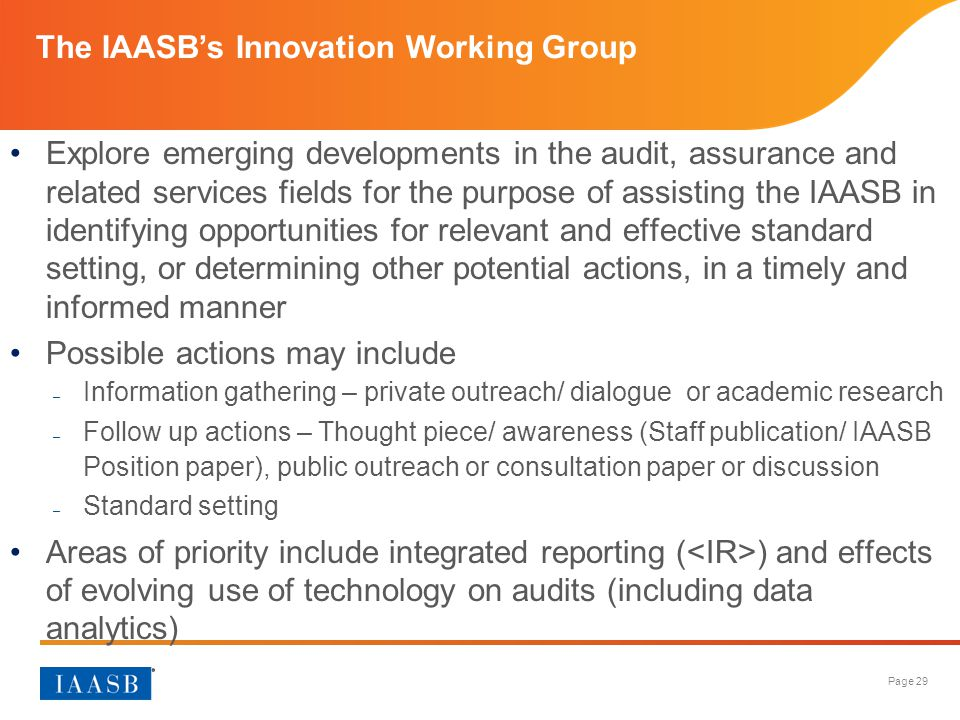 The IAASB's Innovation Working Group