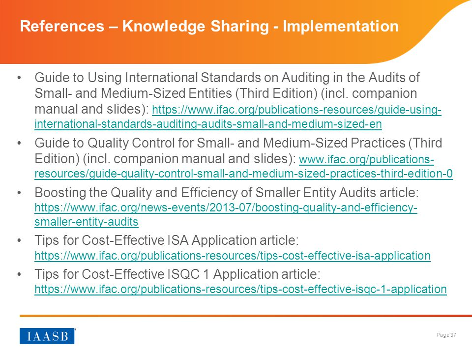 References – Knowledge Sharing - Implementation