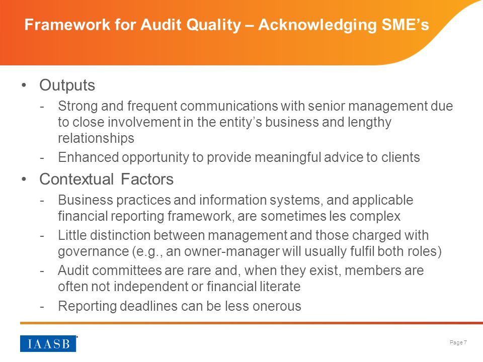 Framework for Audit Quality – Acknowledging SME's