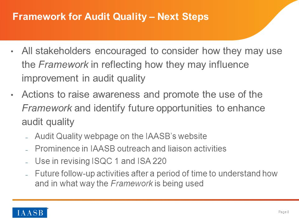 Framework for Audit Quality – Next Steps