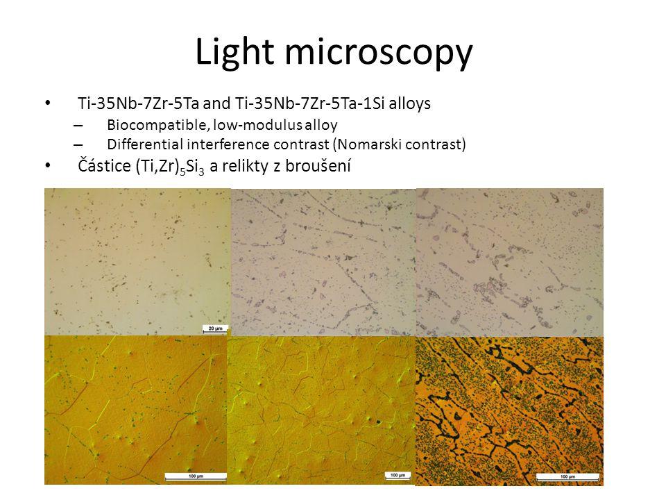 Light microscopy Ti-35Nb-7Zr-5Ta and Ti-35Nb-7Zr-5Ta-1Si alloys