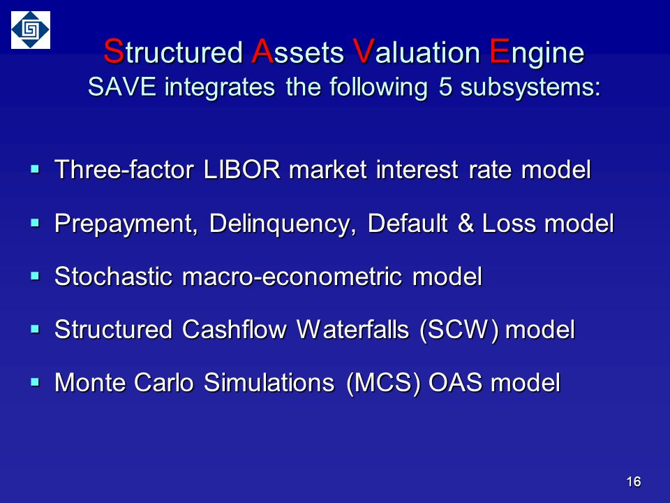 Structured Assets Valuation Engine SAVE integrates the following 5 subsystems: