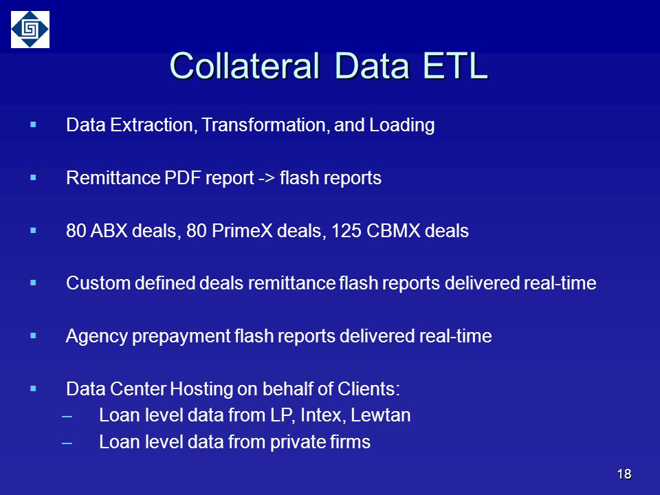 Collateral Data ETL Data Extraction, Transformation, and Loading